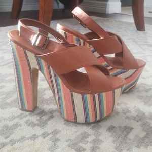 Multi color platform heels